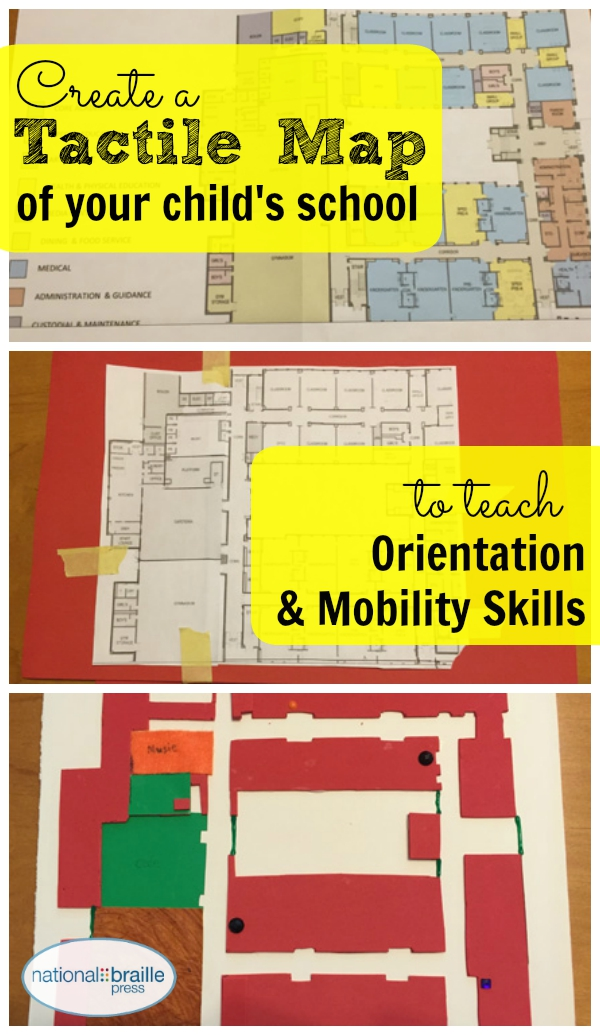Image shoes all mazes, says 'Create a tactile map of your child's school to teach orientation and mobility skills.