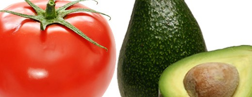 Photo of a red tomato and green avocado