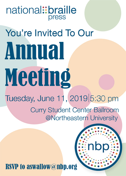 annual meeting invitation image, June 11th, 2019, at 5:30pm, Curry Student Center Ballroom (on the Northeastern campus)