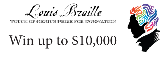 touch of genius prize logo with colorful louis braille profile